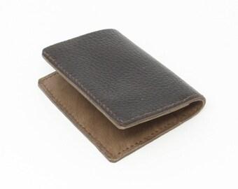 Brown leather slim bifold wallet