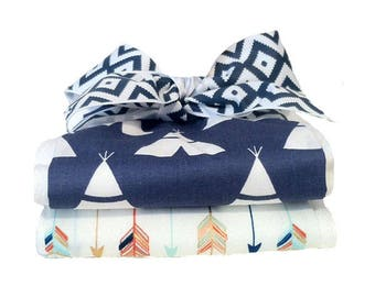 Blue Teepees and Arrows Burp Cloth Set