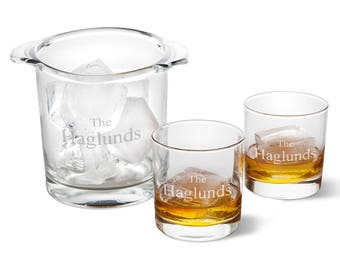 Personalized Ice Bucket with set of 2 Lowball Glasses - Personalized Barware - Groomsmen Gift - Housewarming Gift - Glassware - Ice Bucket