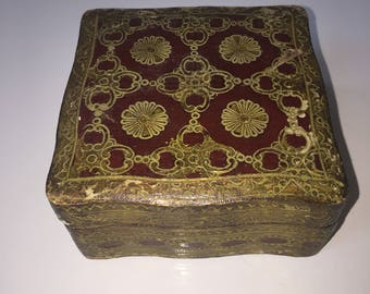 Vintage Florentine Box Red Gold Italy Florence