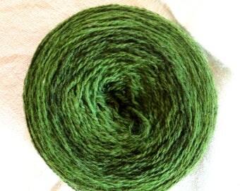 2-ply wool yarn, Ullcentrum, 300 m / 100 g, 100 g, selfstriping yarn, green to dark green, Made in Sweden, wool yarn, Swedish sheep breeds