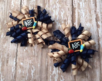 Tan and Navy Korker Set, Pigtail Set, Back to School, ABC Hair Bow, School Uniform