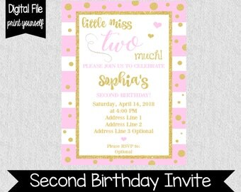 Pink Second Birthday Invitation Any Age Any Color Girl
