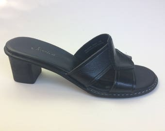 Size 7 Slip on Mules Black Leather