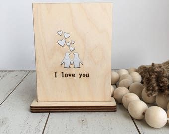 5th Anniversary Wood Card - Penguin Love Wood Card - Wood Card - 5th Anniversary Card - Valentine Card - Wood Anniversary Card - Free stand