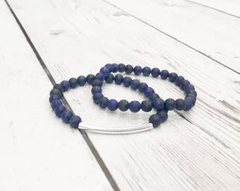 Blue Lapis Lazuli Gemstone Bracelet, Women's Beaded Bracelet, 6mm Blue Bead Bracelet, Navy Blue Bracelet