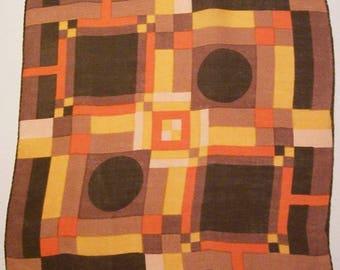 Vintage Designer Kit Ann Geometric Modernist Hankie