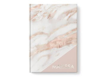 Marble Personalized Journal, Blush Pink Marble Pattern, Personalized Journals for Women, Gift jn0005
