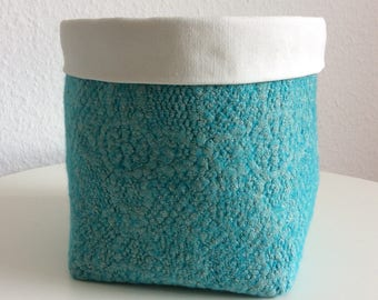 Wool Felt Storage Basket, Turquoise Fabric Storage Basket, Baby Nursery Bathroom Storage Bin, Organizer Basket, Diaper Caddy, Plant Holder