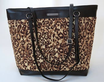 Quilted Leopard Print Brown Computer Bag, Fabric Handmade Handbag, Purse, Faux Leather Business Professional Bag