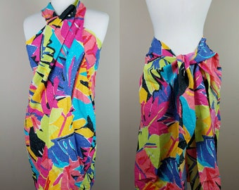 1980s vintage sarong pool cover up beach pink black yellow blue