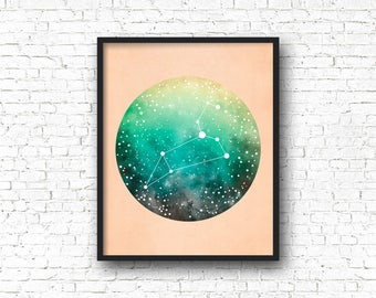 Leo Constellation, Art Print Poster, Leo Art, Zodiac Sign, Wall Art, Zodiac Art, Zodiac Constellation, Wall Art Prints,