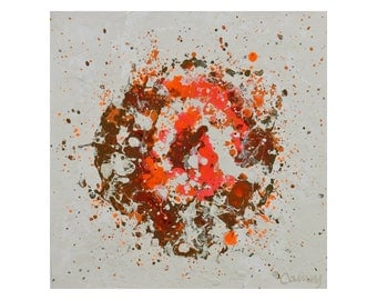 Original Abstract Painting on Wood Panel by Lisa Carney - PETAL BURST 10 - Botanical Art - Orange, Taupe, Brown, White, Small Abstract Art