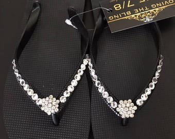 Flip Flops Ardene - Flower Flip Flops With Partial Band Crystal Coverage
