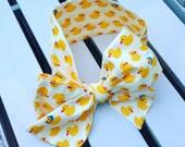 Girl's Headwrap Big Bow Cotton Headband in cute yellow white ducky ducky 100% cotton fabric