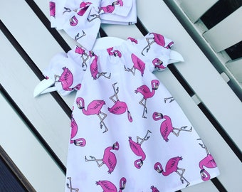 Fun flamingo summer holiday vacation modern contemporary BABY GIRLS dress 100% cotton pink white 0-3 months 3-6 months 6-12 months