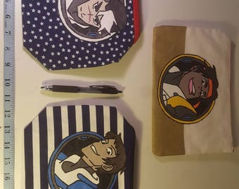 hand painted space boys  character pencil pouches