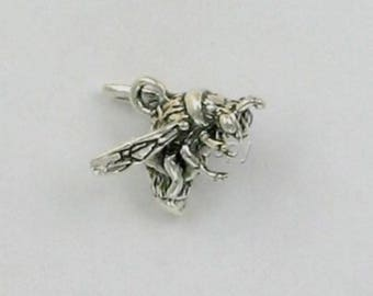 Sterling Silver 3-D  Honey Queen Bee Charm