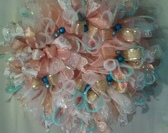 Everyday Door Wreath, Housewarming Wreath, Spring Wreath, Front Door Wreath,Deco Mesh, Pink Deco Mesh Wreath,