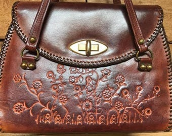 Vintage Floral Tooled Handbag Vtg Dark Brown Leather Handcrafted Bohemian Purse