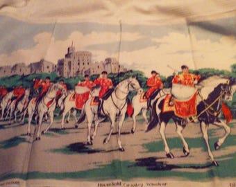"Vintage Kitchen Tea Towel Irish Linen Ireland Household Calvary Windsor Ulster 30""L x 19.5"" W Horses Royalty London Souvenir"