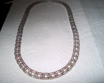 Vintage Costume Jewelry Avon Necklace, Rhinestones & Metal Marcasites,WAS 25.00 - 50% =  12.50