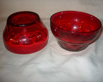 6 Vintage Red Glass Bowls, ground bottom (Price for all 6)