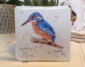 Personalised Coaster, Kingfisher, Animal Coaster, Ceramic, Tile coaster, hand made, Decor, Interior Kitchen, Animals, British Wildlife, Gift