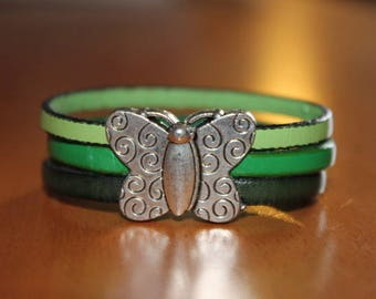 Leather Bracelet green gradient, magnetic Butterfly clasp