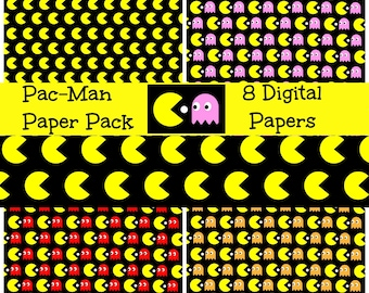 Pac Man Digital Paper Pack Pac-Man Seamless Patterns Pac Man Digital Gift Wrap Wall Paper Blog Paper Game Digital Art Download