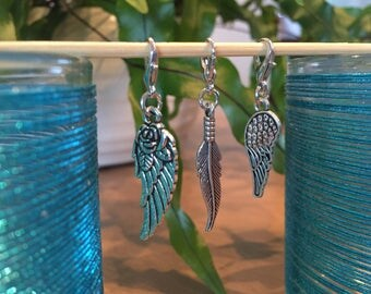 Progress keepers Stitch markers Set of 3 Feather Wing Knitting Crochet