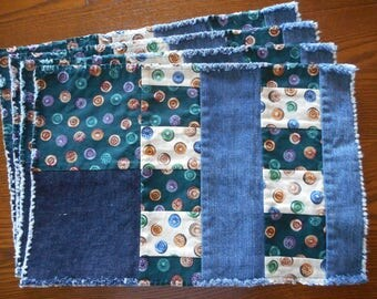 Set of Four Buttoned Up Placemats