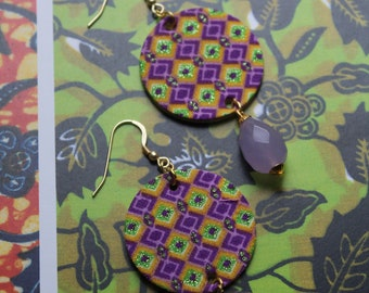 african wax earrings with purple hard stones