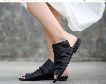 SALE Leather Sandals, Black Sandals, Handmade Sandals, Flat Summer Shoes, Slide Sandals, Black Greek Sandals, Romy