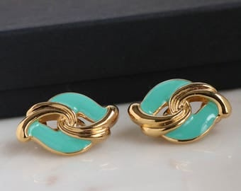 Green Clip On Earrings - Gold Clip On Earrings - Mint Clip On Earrings