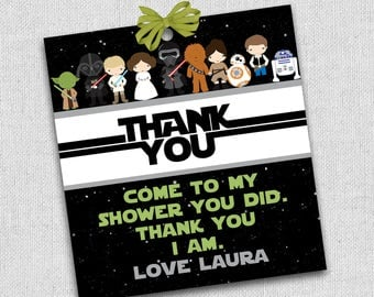 star wars thank you favor tag, thank you card, star wars baby shower favor tags, customized with wording and name, baby shower favor tag