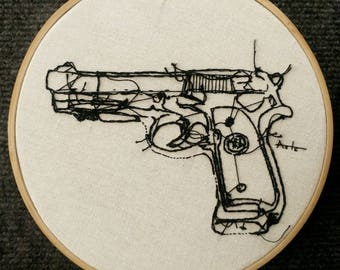 Inverted Beretta 7 inch Hand Embroidery