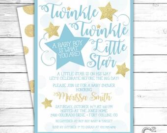 Blue & Gold Twinkle Twinkle Little Star Baby Shower Invitation
