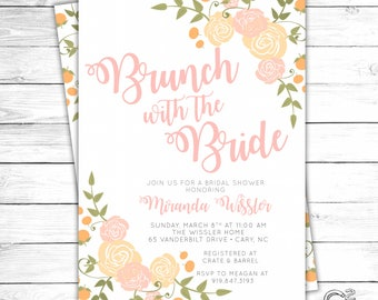 Clementines & Roses Brunch with the Bride Shower Invitation