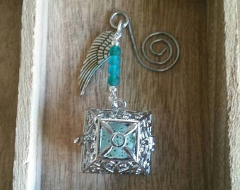Blue Sea Glass Diffuser Locket with Angel Wing