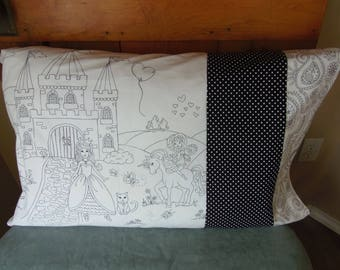 Color in Princess Pillow Case