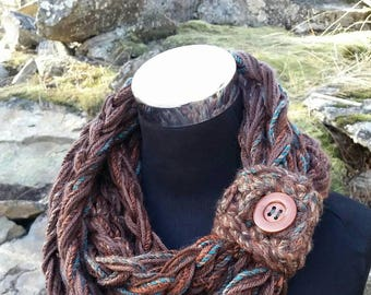 Infinity Scarf, FREE SHIPPING Scarf, Teal, Green Scarf, Button Cuff scarf, Adjustable Cowl, Long Infinity Scarf, Orange Scarf, Brown Cowl