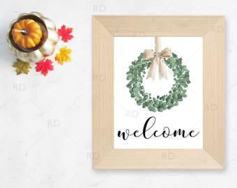 Welcome Seasonal Wreath Printable Wall Art / Fall with leaf wall print / Autumn Wall Art / Autumn Themed Wall Art / Eucalyptus Wreath Art