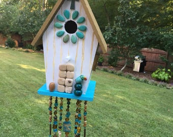 Birdhouse beaded decorative bird house hand painted birdhouse cross wind chimes  beaded birdhouse Lavish Lucy Designs wind chime bells