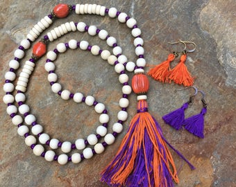 Long Beaded tassel necklace purple & orange white wood beaded necklace Bohemian necklace boho necklace colorful jewelry white bead necklace