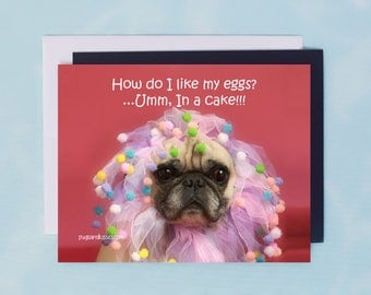Pug Magnet - How Do I Like My Eggs - 5 x 4 Pug magnet - by Pugs and Kisses