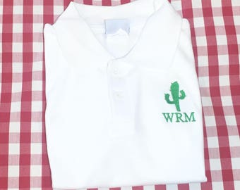 Boys cactus shirt, monogrammed western polo, youth personalized polo shirt, Short sleeved shirt with monogram, toddler embroidered polo