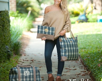 Middleton Plaid  Collection - Weekender, Shoulder Bag, Zip Pouch - Price Includes Personalization