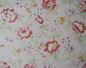 "Half Yard of Sanctuary by 3 Sisters For Moda Fabric Roses on Pink Background.  Approx. 18"" x 44"""