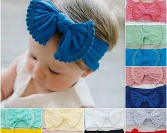 Nylon Baby Headband,Baby Headbands,Newborn Headband,Nylon Headband,Baby Girl Headbands,Hair Bows,Infant Toddler Headbands,Baby Bows,Pink Bow